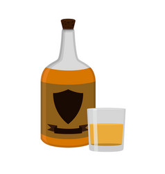 Rum bottle with glass shot alcohol drink flat vector