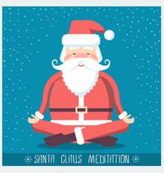 Santa claus doing yoga meditation christmas vector