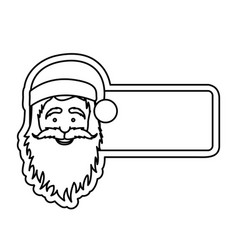 silhouette banner with face cartoon santa claus vector image vector image