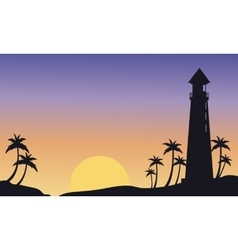 Silhouette of big lighthouse at sunset vector