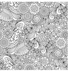 Sketchy doodles decorative floral pattern vector