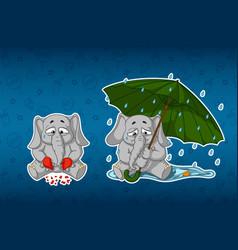 stickers elephantsbroken heart sadness umbrella vector image vector image