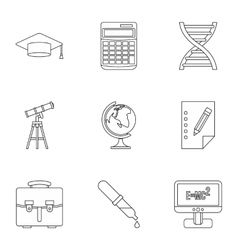 Study of science icons set outline style vector