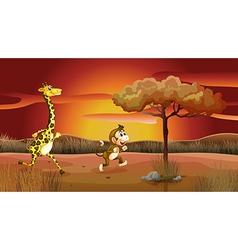 Sunset giraffe monkey vector