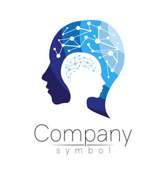 symbol of human head profile face blue vector image vector image
