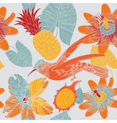 tropical floral pattern with humming birds vector image vector image