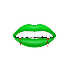 Vampire mouth in green design with bloody teeth vector