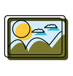 Watercolor silhouette of picture with landscape vector
