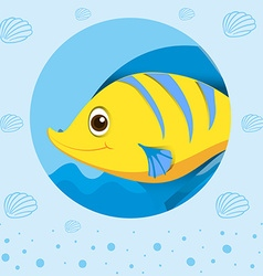 Yellow fish with happy face vector image vector image
