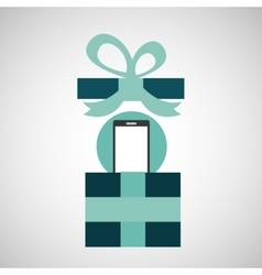 Gift father day with smartphone vector