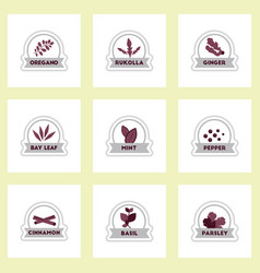 set of label icon on sticker kitchenware vector image