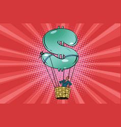 Businessman in a hot air balloon dollar vector