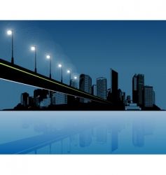 City with water and bridge vector