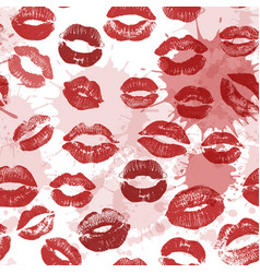 Seamless pattern with beautiful red colors lips vector