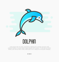 Dolphin jumping above waves in thin line style vector