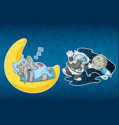stickers elephants sleeps on the moon astronaut vector image