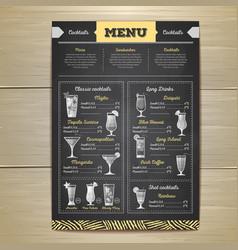 Chalk drawing cocktail menu design vector