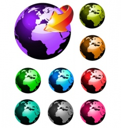 3d glossy earth icons vector image