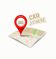 Map red pointer with my car design vector image