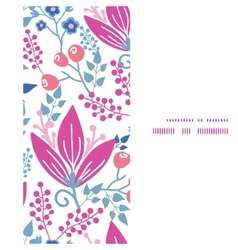 Pink flowers vertical frame seamless vector
