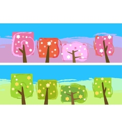 Abstract blooming trees vector