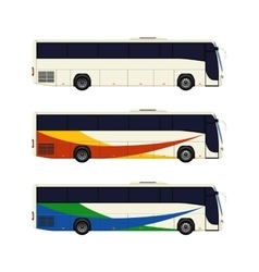 Set of three coach bus icons vector