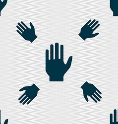 Hand print sign icon stop symbol seamless pattern vector