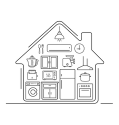 Modern kitchenware thin line icons vector
