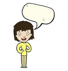 Cartoon happy woman with speech bubble vector