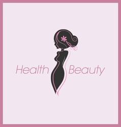 Silhouette woman body logo vector image