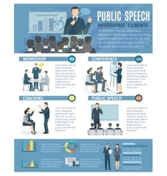 Public speaking infographic elements flat poster vector