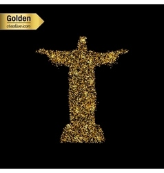 Gold glitter icon of statue isolated on vector