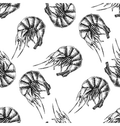 Shrimp drawing seamless seafood pattern vector