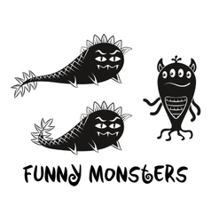 Contour and silhouette monsters set vector