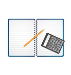 Calculator with pencil on paper vector image vector image