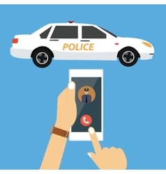 call police car via mobile phone emergency vector image