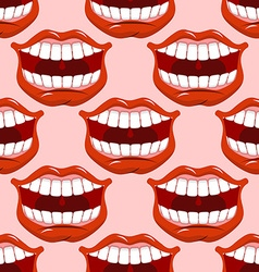 Cheerful smile lip seamless pattern red lips and vector
