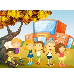Children hanging out at the school campus vector image vector image