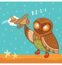 Cute cartoon owl with wooden toy airplane vector