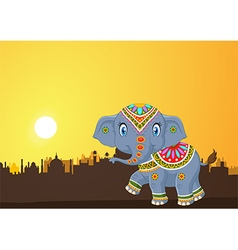Cute elephant mascot wearing traditional costume vector