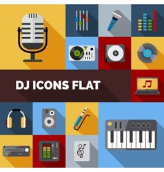 Dj Icons Flat Set vector image