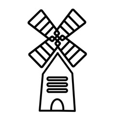 farm windmill icon outline style vector image