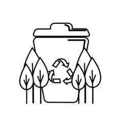 Figure recycle can with plants icon vector