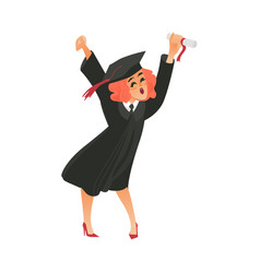 flat girl graduate in gown cap vector image
