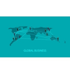 Flat of business people standing on the world vector