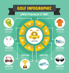 golf infographic concept flat style vector image vector image