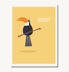 Greeting card with cute toucan parrot and text vector