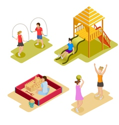 Isometric playground icon set vector
