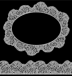 Lace oval frame and seamless stripe - Vintage whit vector image vector image