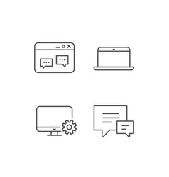 Laptop chat speech bubbles and monitor icons vector